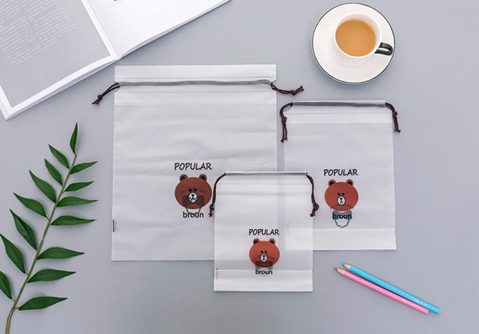 Brown Bear Transparent Cosmetic Bag Travel Makeup Case 12