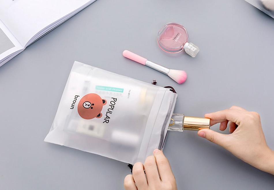 Brown Bear Transparent Cosmetic Bag Travel Makeup Case 9